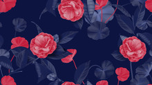 Floral Seamless Pattern, Semi-double Camellia Flowers With Various Leaves In Red And Purple On Purple