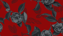 Floral Seamless Pattern, Semi-double Camellia Flowers With Various Leaves In Black On Red