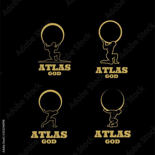 Fotografía set collection gold atlas god logo icon design