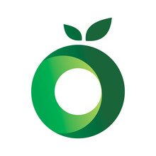 Green Circle Letter O Fruit Logo Design