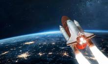 Space Shuttle On Orbit Of Eart...