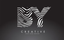 BY B Y Letters Logo Design With Fingerprint, Black And White Wood Or Zebra Texture On A Black Background.