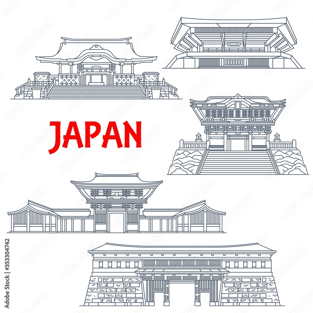 Fototapeta Japanese travel landmarks with vector thin line buildings of religion and sport. Shinto Shrines of Meiji Jingu, Hanazono and Kunozan Toshogu, Nippon Budokan arena and Otemon Gate of Kochi Castle