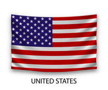 Hanging Silk Flag United States