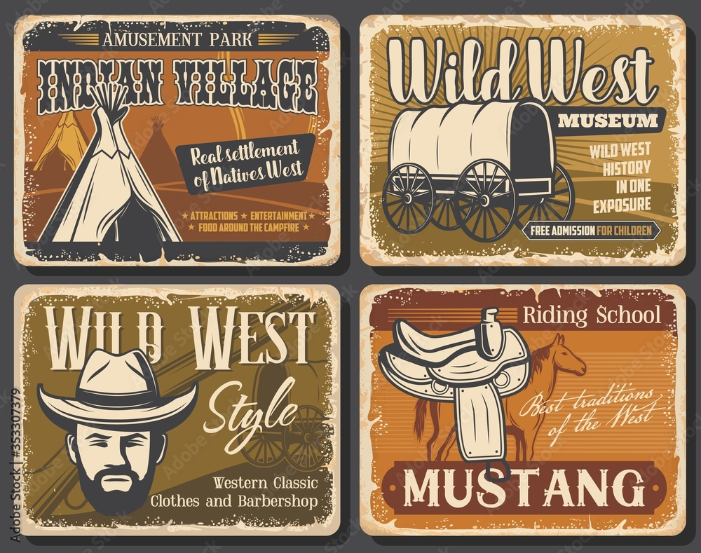 Fototapeta Wild West retro posters of Western cowboy with hat, rodeo horse and Texas sheriff gun. Native american or indian teepee, old wagon and mustang saddle, Wild West and Western museum vector design