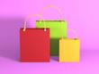 Leinwandbild Motiv Empty Shopping Bags on Gray Background