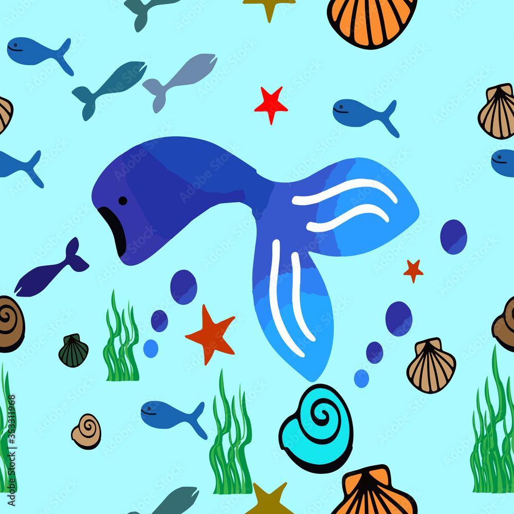 Fototapeta Underwater animals seamless pattern. Vector illustration.