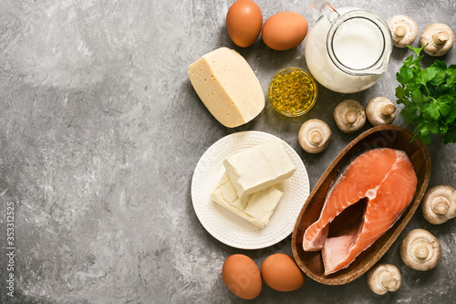 Fototapeta Food with vitamin D. A set of products rich in vitamin D. Top view, flat lay, copy space. obraz