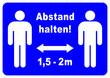 Leinwanddruck Bild - ds243 DiskretionSchild - german label: Gebotszeichen - Abstand halten - 1,5 Meter mit Pfeil - Poster blau - DIN A1 A2 A3 A4 - xxl g9685