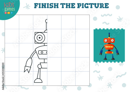Fototapeta Copy picture vector illustration. Complete and color game for preschool and school kids obraz