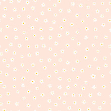 White Ditsy Flower Seamless Vector Background. Floral Pattern With Small White Flowers On Light Pink. Liberty Style. Floral Repeating Texture For Fashion Prints. Ditsy Print. Spring, Summer Decor