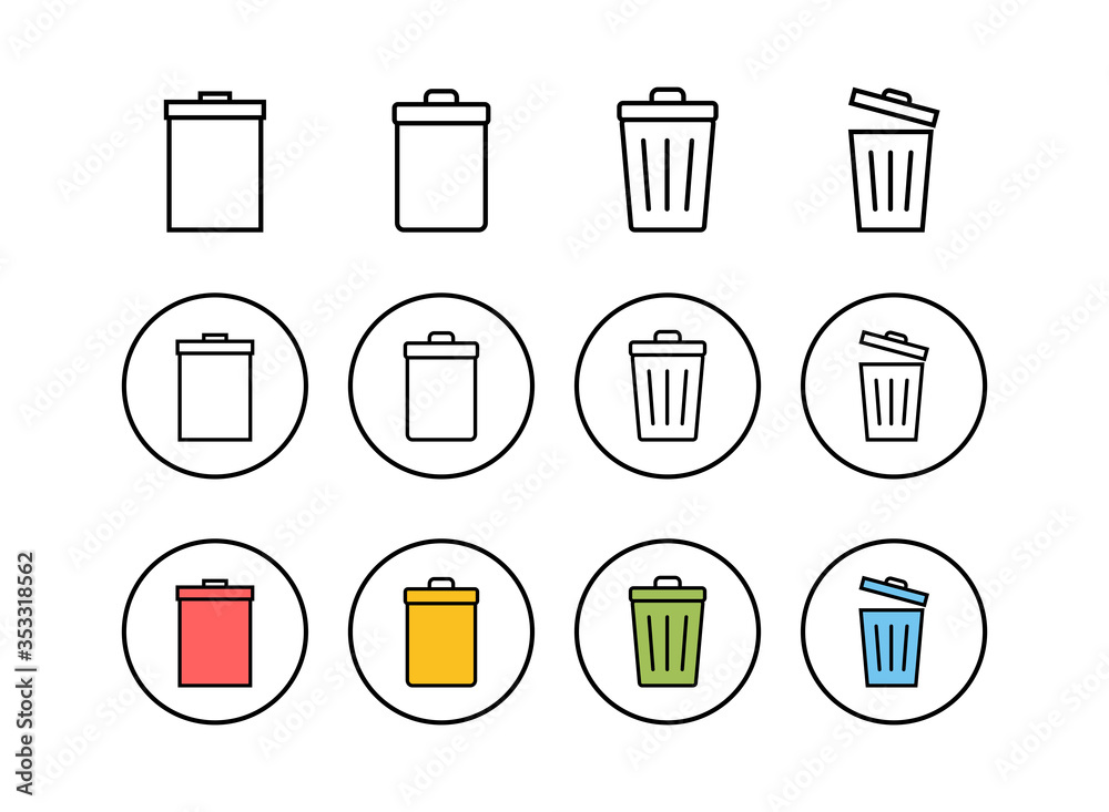 Fototapeta Set of Trash icons. trash can icon. Delete icon vector