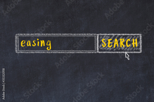 Photo Chalk drawing of search engine and inscription on black chalkboard