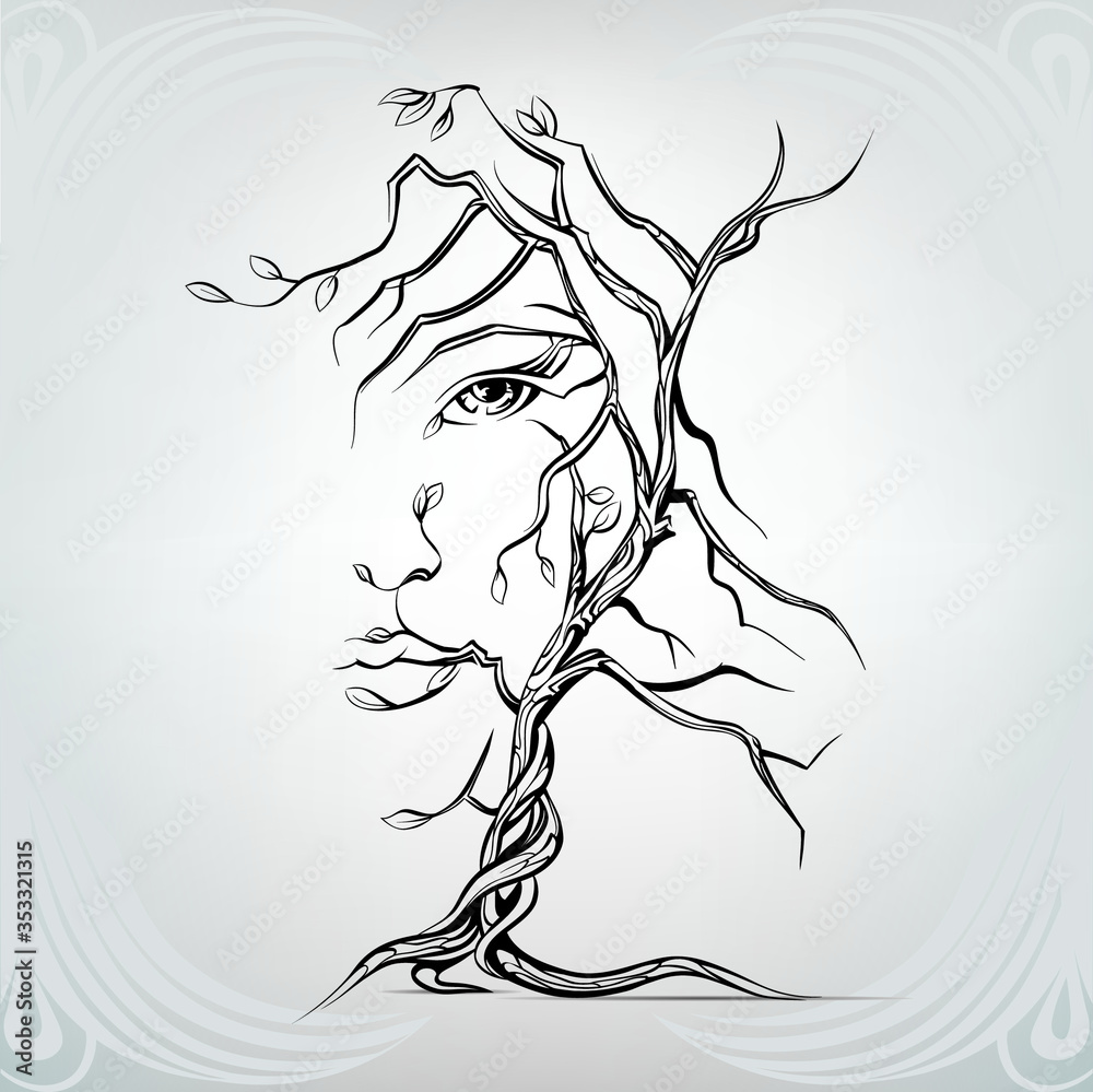Fototapeta Woman's face in the form of a tree