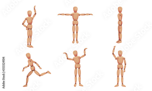 Fotomural Wooden Mannequin with Joints in Different Poses Isolated on White Background Vec