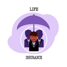 Businessman Under Umbrella With Life Insurance Text Isolated On Background