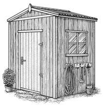 Gardenhouse Illustration, Drawing, Engraving, Ink, Line Art, Vector