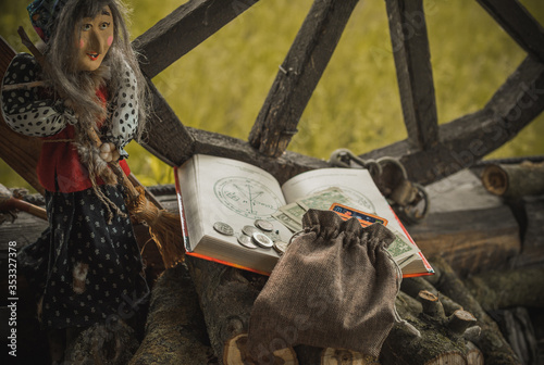 Fotografie, Obraz Ritual and spell for attracting money, pagan magic and fate prediction, work of