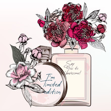 Fashion Illustration With Perfume Bottles, Roses, Peony Flowers In Vintage Style
