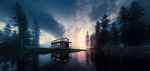 Lake With Vintage Tiny House I...