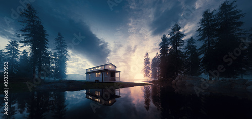 Lake with vintage tiny house in a sunset forest environment Canvas Print