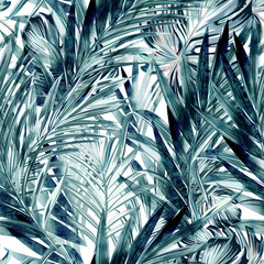 Panel Szklany Drzewa Tropical vector background with palm leaves, vacation concept