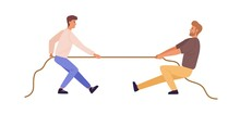 Tug Of War Man Versus Guy Vector Flat Illustration. Battle Or Competition Between Male To Leadership Isolated On White Background. Rivals Person Pulling Opposite Ends Of Rope