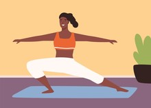 Adorable Black Skin Woman Practicing Fitness On Mat Vector Flat Illustration. Athletic Yoga Girl Demonstrate Sports Exercise At Gym Or Home Interior. Smiling Sportswoman Enjoying Healthy Lifestyle