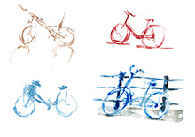 Watercolor Set Of Bicycles In ...