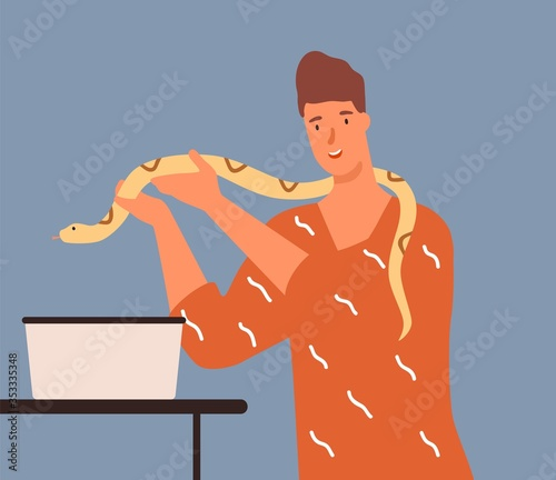 Joyful male holding yellow python vector flat illustration Fototapeta