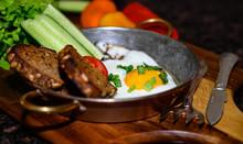 Breakfast Set. Pan Of Fried Eg...