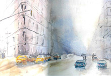 Winter Street Watercolor Sketc...