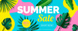 summer sale banner design with tropical leaves on geometric colorful abstract shapes background