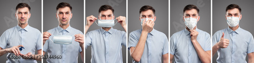 Fotografia Man with sanitizer and protective mask