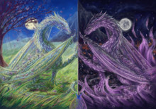 Good And Evil Green And Purple Dragons Facing Each Other, Mirrored Lives, Fantasy, Digital Art Style, Illustration Painting
