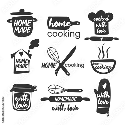 Set of hand drawn simple kitchen phrases - homemade,with love, home cooking, cooked with love Wallpaper Mural