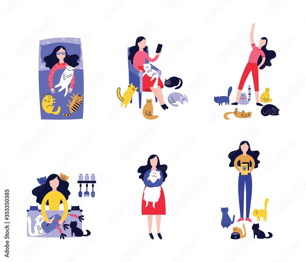 Fototapeta Cat lady isolated drawing set, young woman with many pet cats