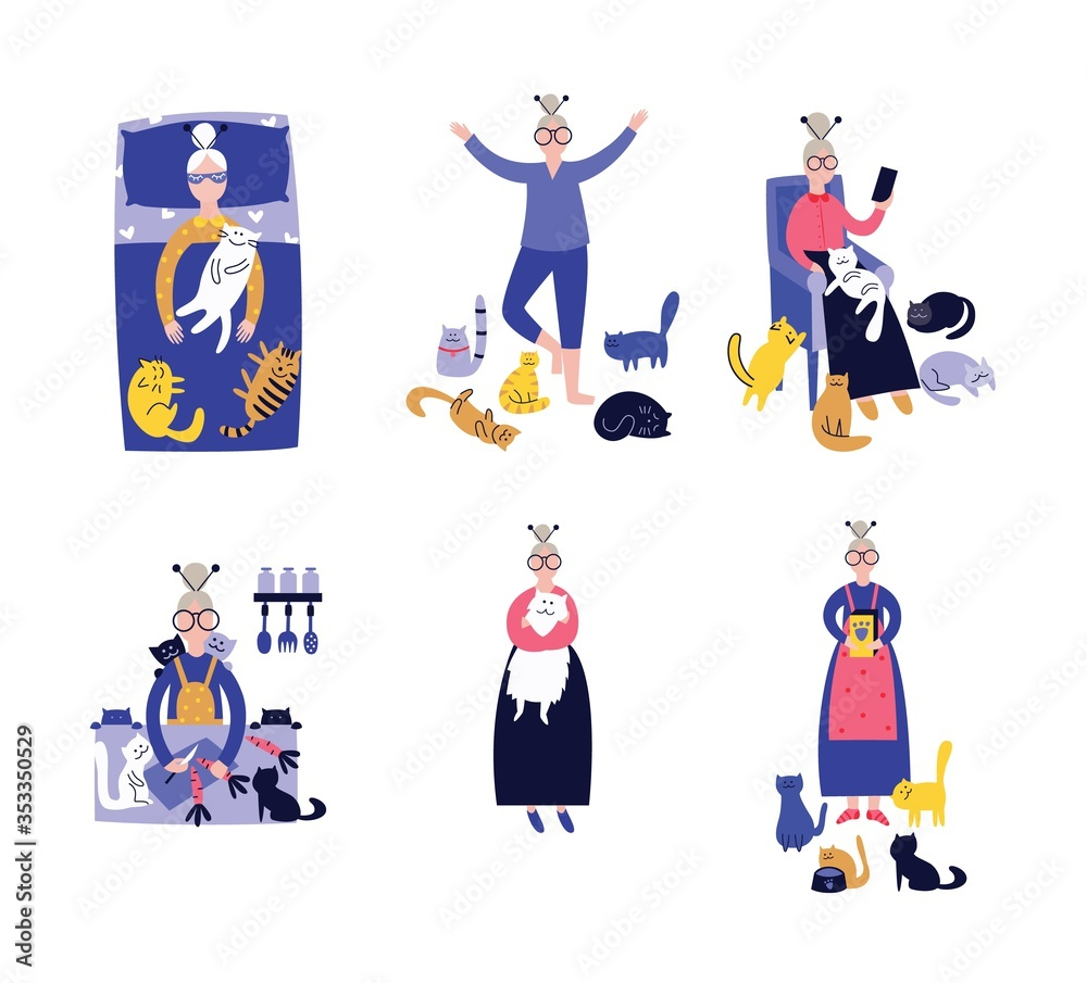 Fototapeta Lonely lady with cats in everyday activity set of vector illustrations on white .