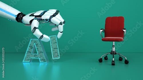 Obraz Artificial intelligence replaces jobs - fototapety do salonu