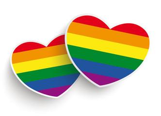 2 Rainbow Paper Hearts