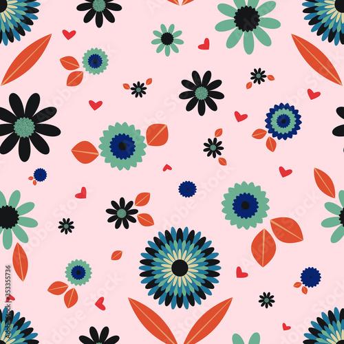 Fotografering Scandinavian floral folk pattern
