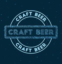 Craft Beer. Glowing Round Badg...