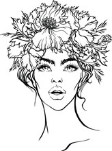 Vector Hand Drawn Young Beautiful Woman Wearing Wreath From Poppy Flowers With Leaves And Herbs. Linear Sketch For Coloring Book, Face Chart, Beauty Glamour Summer Design.