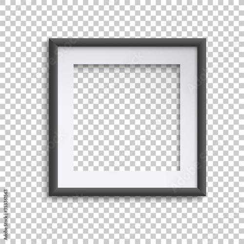 Fototapeta Blank white and black picture frame, square empty picture frame obraz