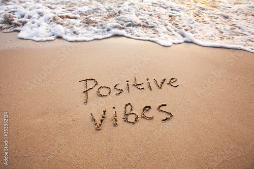 Stampa su Tela positive vibes, text on sand, optimism concept