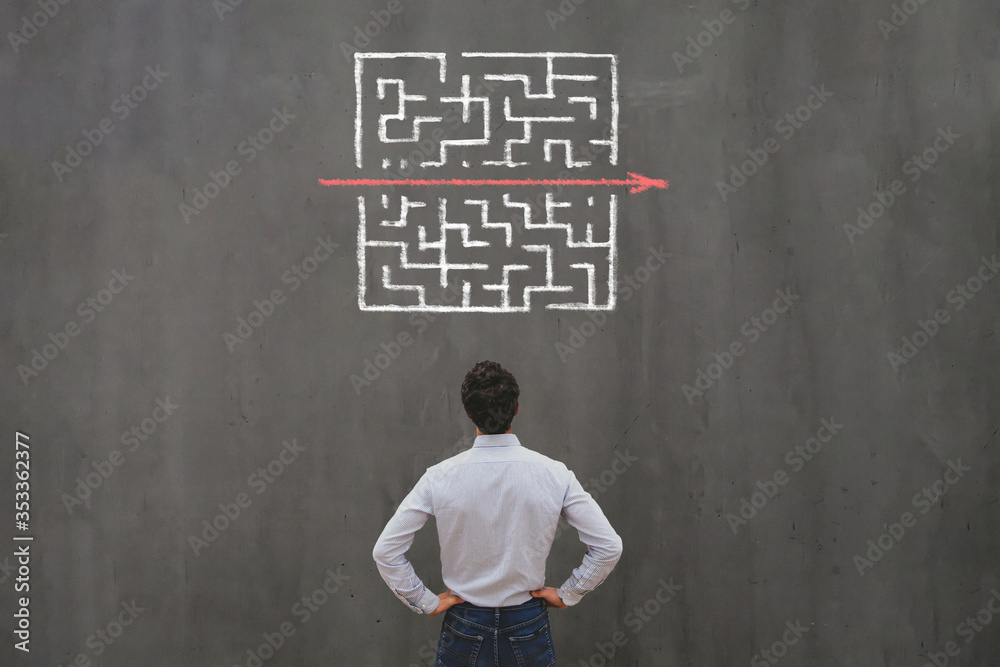 Fototapeta simple easy fast solution concept, problem solving, business man thinking about exit from complex labyrinth maze