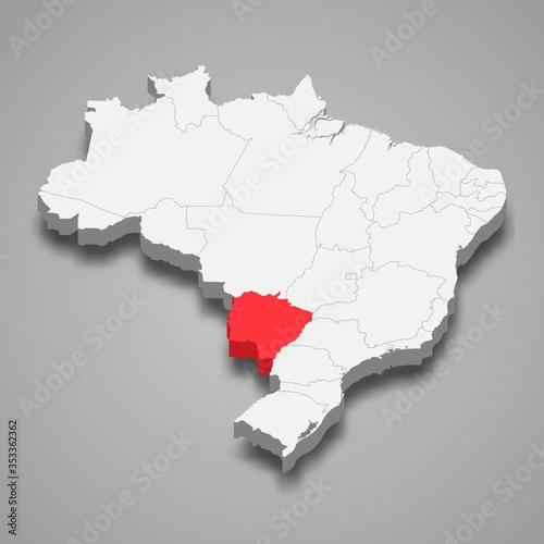 Fotografia, Obraz mato grosso do sul state location within Brazil 3d map Template for your design
