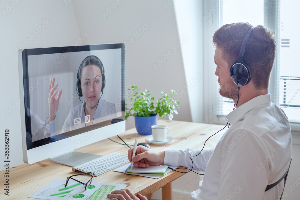 Fototapeta webinar, online conference meeting, education or coaching concept, learn by distance, e-learning