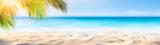 Fototapeta Fototapety z morzem do Twojej sypialni - Summer Banner - Sunny Sand With Palm Leaves In Tropical Beach
