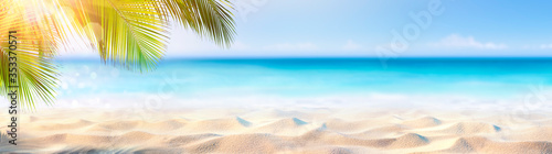 Fototapeta Summer Banner - Sunny Sand With Palm Leaves In Tropical Beach